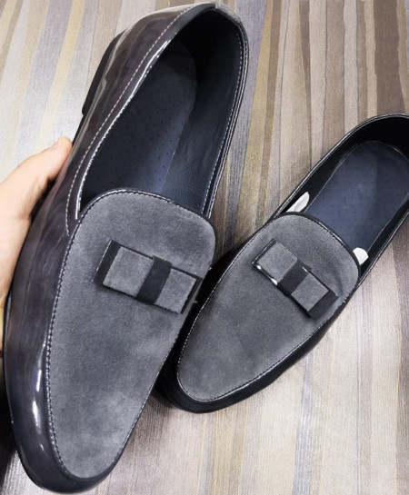 Shiny Gray Stylish Design Slip-On Loafers LW-7185
