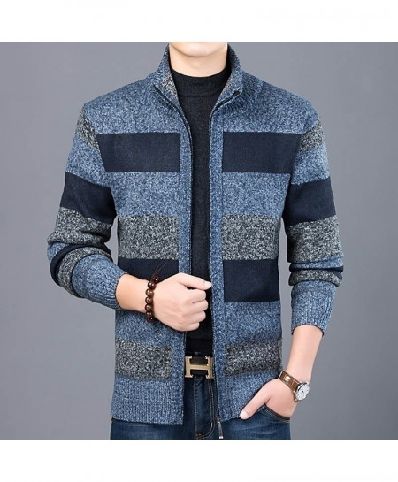LANGBEEYAR Blue Cardigan Knitwear Warm Sweater