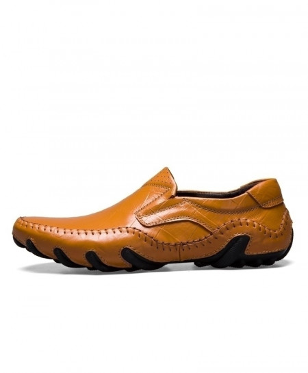 Times New Roman Yellow Brown Cow Leather Loafers