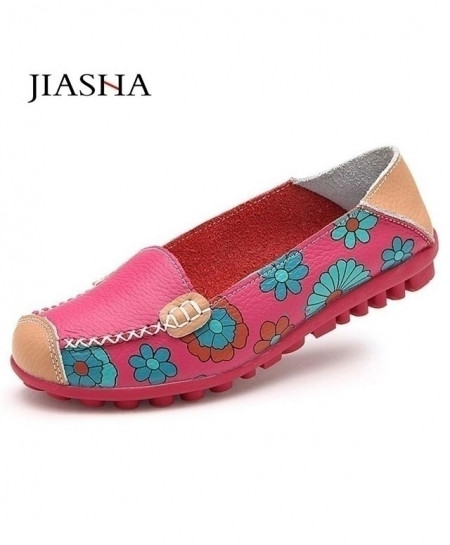 JIASHA Rose Ballet Flower Print Flat Shoes