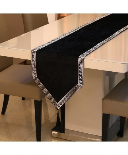 Black European Velvet Table Runner 32x180cm