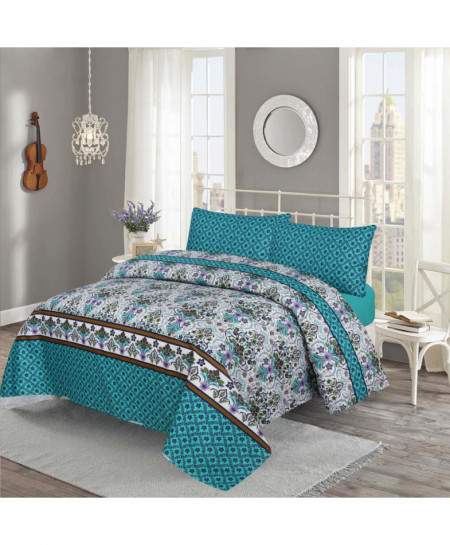 Blue White Floral Cotton Bedsheet PBS-506