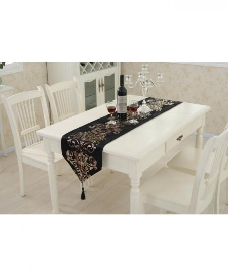 Black Raised Flower European Table Runner 32x180cm