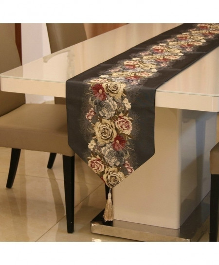 Black Proud Rose American Table Runner 32x210cm