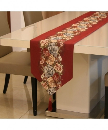 Red Proud Rose American Table Runner 32x210cm