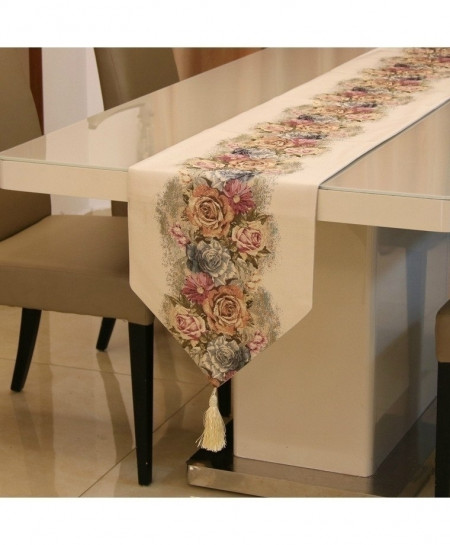 Beige Proud Rose American Table Runner 32x210cm
