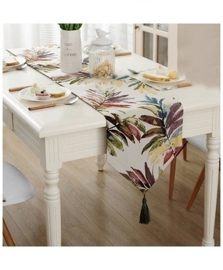 Dark Colorful Leaves Nylon Jacquard Table Runner 32x220cm