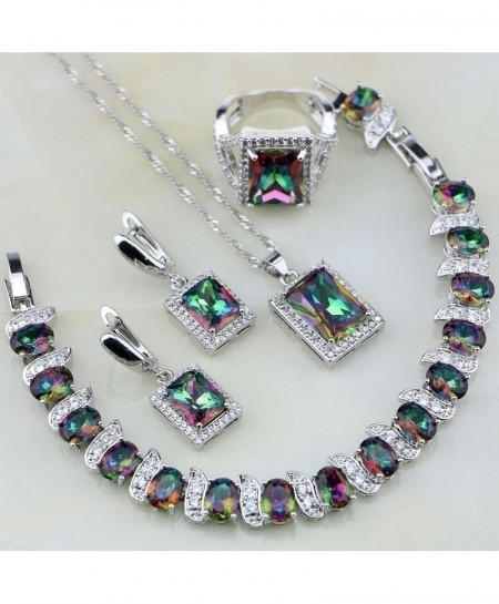 Square Rainbow Mystic Fire Crystal 925 Sterling Jewelry Set