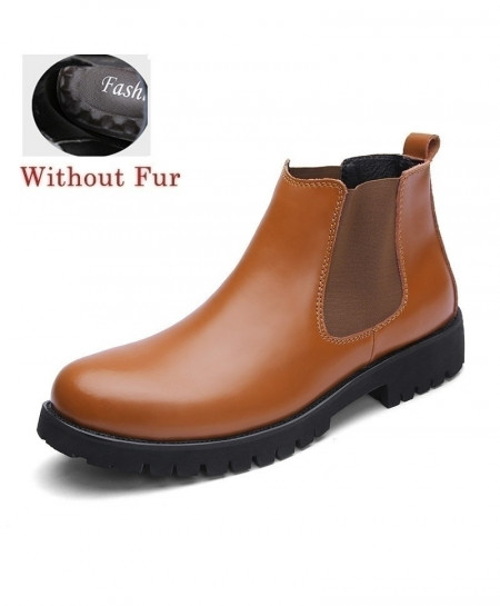 Brown Without Fur Stitched Design Slip-on Boots