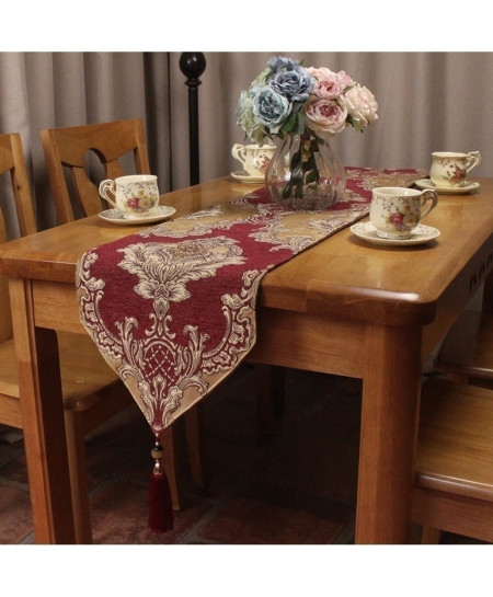 CURCYA Red Royal Chenille Jacquard Classic Table Runners 30x260cm