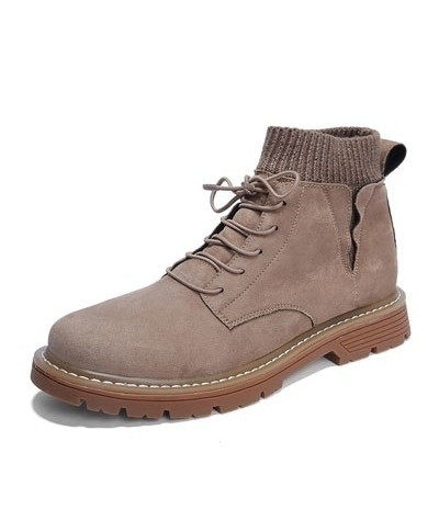 SHANGCATS Gray Stitched Design Stylish Casual Boots