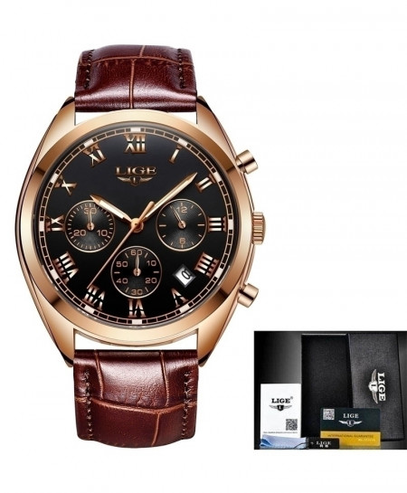 LIGE Gold Black Chronograph Stainless Steel Waterproof Watch