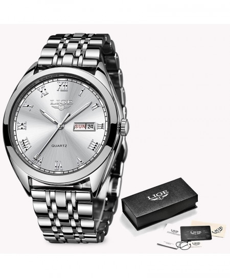 LIGE Silver White Chronograph Stainless Steel Waterproof Watch