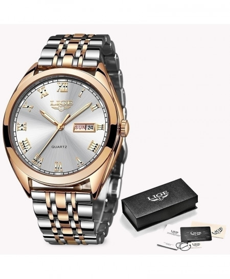 LIGE Rose Gold White Chronograph Stainless Steel Waterproof Watch