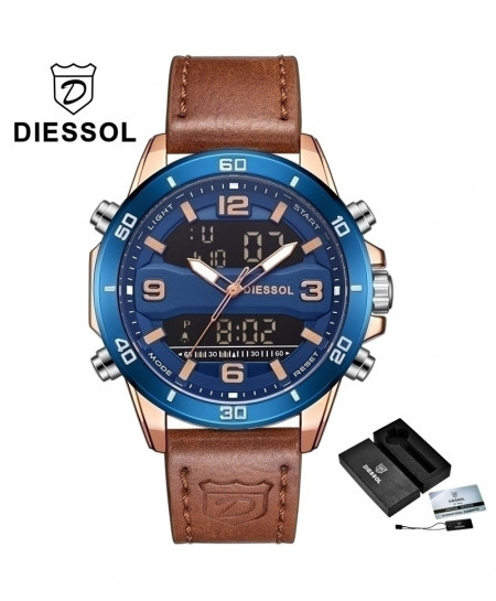 DIESSOL Rose Gold Blue Analog Casual Leather Military Waterproof Wrist Watch