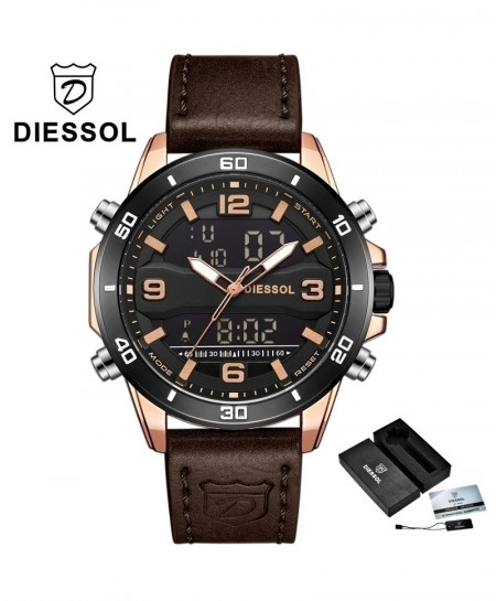 DIESSOL Rose Gold Black Analog Casual Leather Military Waterproof Wrist Watch