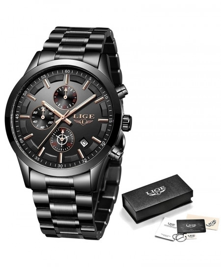 LIGE Black Chronograph Stainless Steel Waterproof Watch