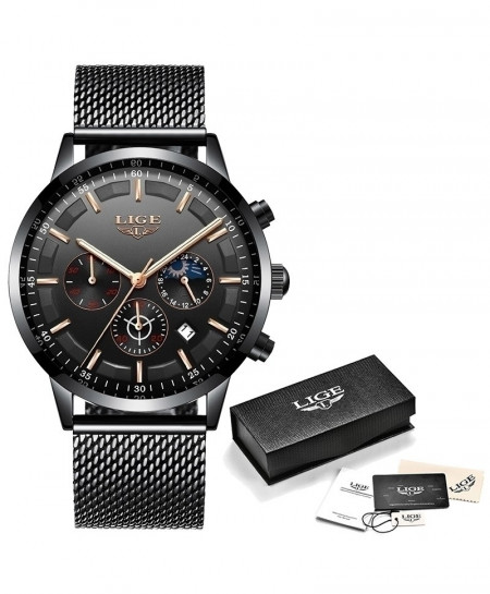 LIGE Black Rose Gold Stainless Steel Casual Quartz Wristwatch