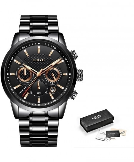 LIGE Black Leather Waterproof Casual Chronograph Watch