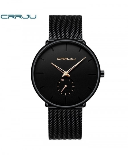 Crrju Black Rose Gold Classic Casual Quartz Watch