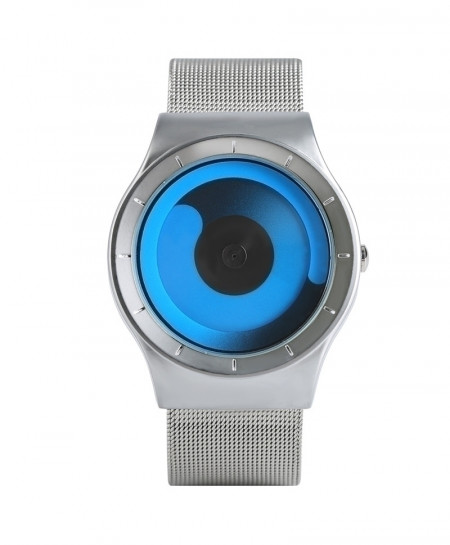 YISUYA Blue Silver Unique Gradual Change Turntable Color Wristwatch
