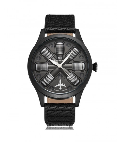 Gorben Black Unique Cool Aircraft Engine Shaped Watch