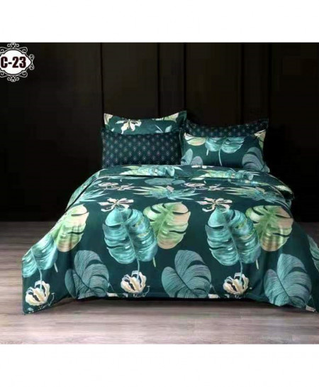 Gray Feathers Digital Printed Bedsheet SN-C23