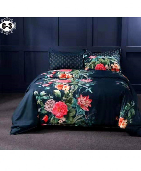 Half Side Floral Digital Printed Bedsheet SN-C3