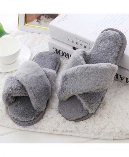 COOTELILI Gray Fur Warm Slippers