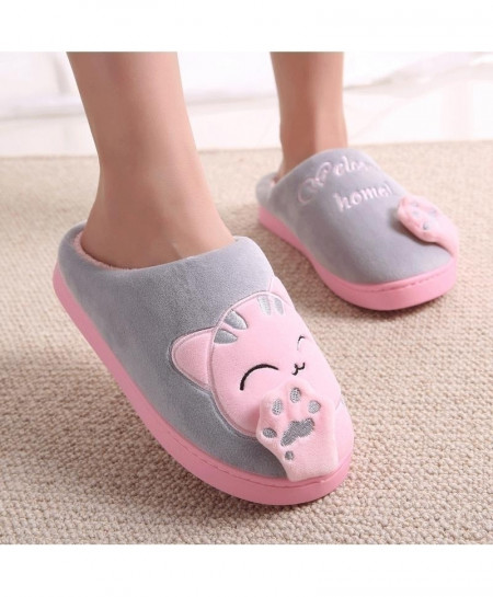 Lotus Gray Pink Non-slip Soft Slippers