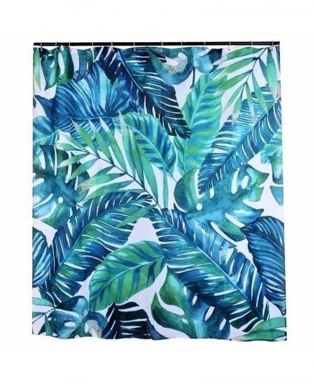 Big Leaves Varicolored Print Waterproof Bathroom Curtain