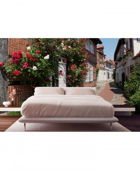 3D Italy Street Building Flowers Wallpaper BNS-347
