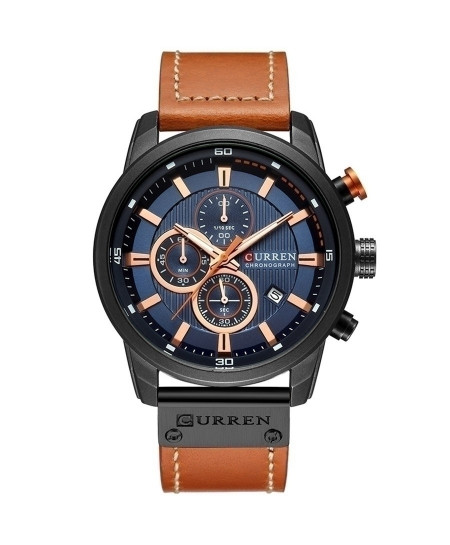 Curren Black Blue Chronograph Waterproof Casual Watch