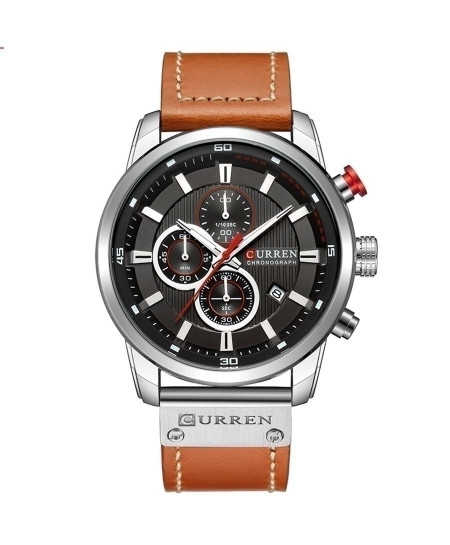 Curren Brown Silver Chronograph Waterproof Casual Watch