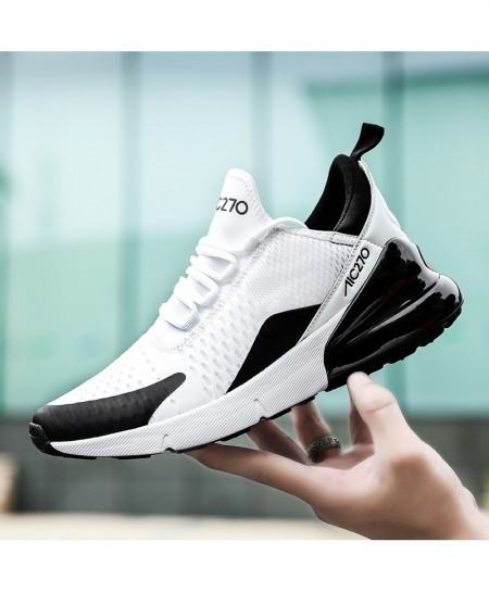 KEEP RUNNING White Black Comfortable Sports Running Shoes