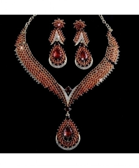 YOUFIR Red Rhinestone Crystal Jewelry Set