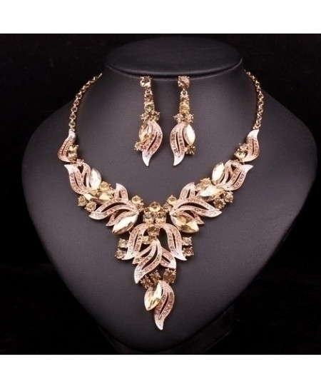 Chaoyite Champagne Crystal Leaves Stylish Jewelry Set