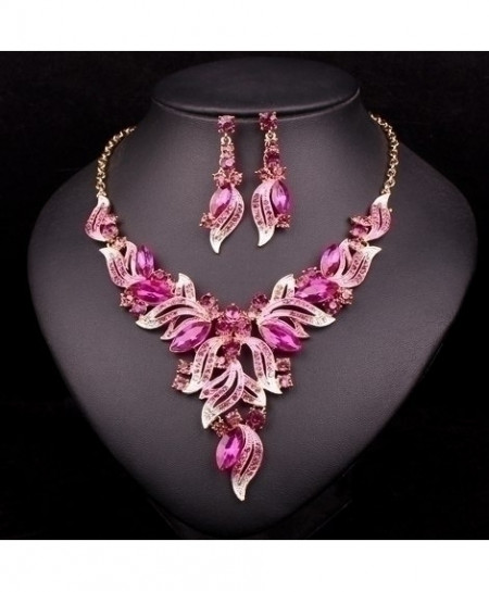 Chaoyite Pink Crystal Leaves Stylish Jewelry Set