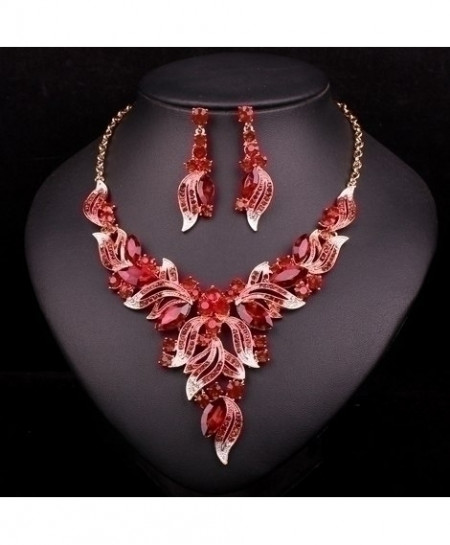 Chaoyite Red Crystal Leaves Stylish Jewelry Set