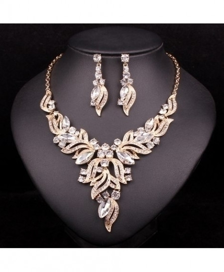 Chaoyite Clear Crystal Leaves Stylish Jewelry Set