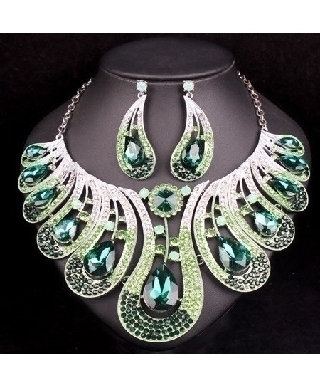 Green Silver Crystals Jewelry Sets