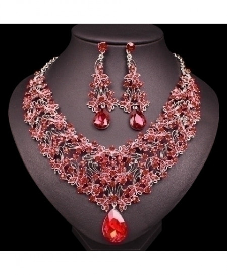 Chaoyite Red Big Crystal Vintage Retro Jewelry Set