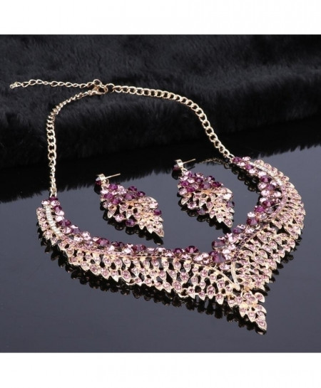 OUHE Purple Big Crystal African Jewelry Set