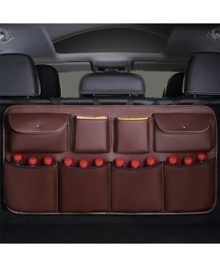 Coffee Leather Car Trunk Storage Bag Multi-use Stowing Tidying