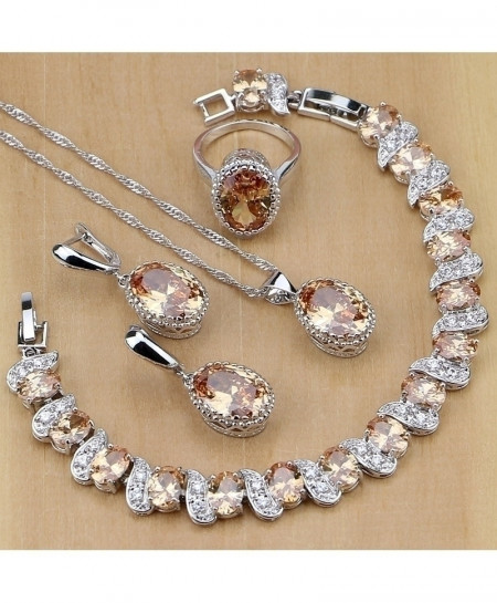 Champagne 925 Sterling Zircon Jewelry Set