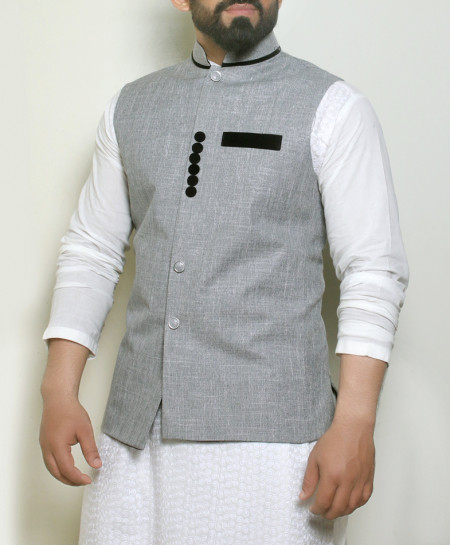 Plain Gray Button Stylish Waistcoat ARK-990