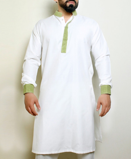 Plain White Light Green Stylish Design Kurta ARK-1020