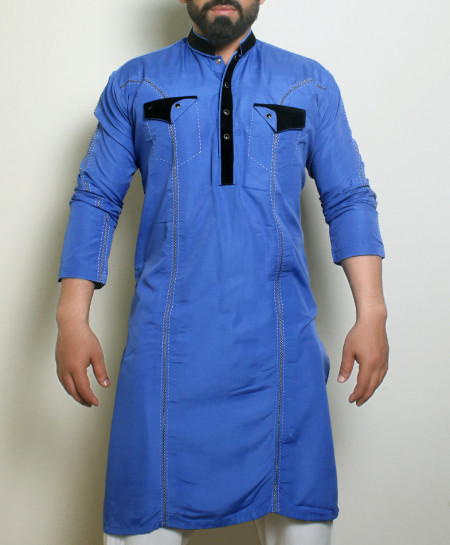 Blue Front Pocket Stylish Design Kurta ARK-1023