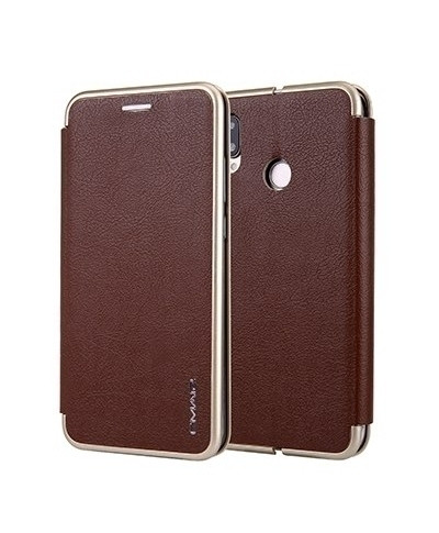 VISEAON Brown Leather Magnetic Flip Wallet Case