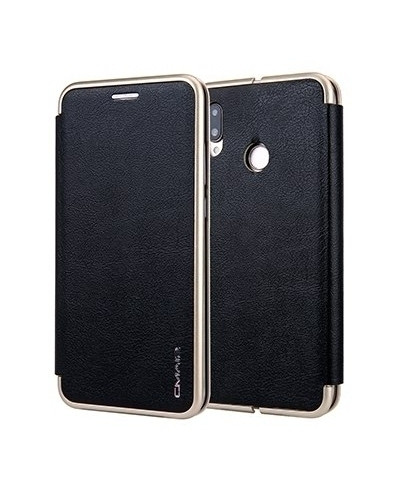 VISEAON Black Leather Magnetic Flip Wallet Case